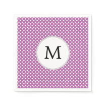 Personalized Monogram Orchid Polka Dots Pattern Paper Napkin