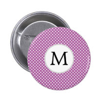 Personalized Monogram Orchid Polka Dots Pattern Pinback Button