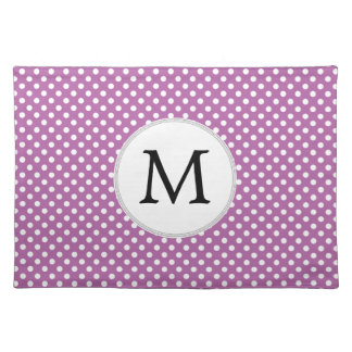 Personalized Monogram Orchid Polka Dots Pattern Placemat