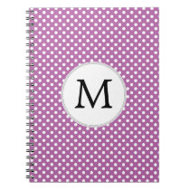 Personalized Monogram Orchid Polka Dots Pattern Spiral Notebook