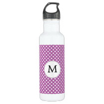 Personalized Monogram Orchid Polka Dots Pattern Stainless Steel Water Bottle