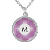 Personalized Monogram Orchid Polka Dots Pattern Sterling Silver Necklace