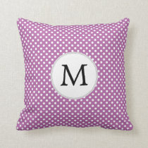 Personalized Monogram Orchid Polka Dots Pattern Throw Pillow