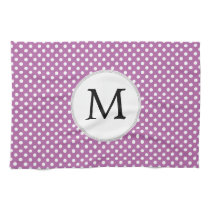 Personalized Monogram Orchid Polka Dots Pattern Towel