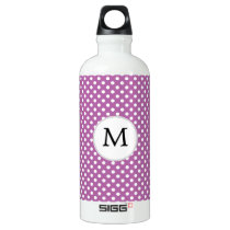 Personalized Monogram Orchid Polka Dots Pattern Water Bottle
