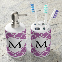 Personalized Monogram Orchid Quatrefoil Pattern Bathroom Set