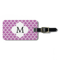 Personalized Monogram Orchid Quatrefoil Pattern Luggage Tag