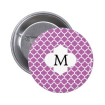Personalized Monogram Orchid Quatrefoil Pattern Pinback Button