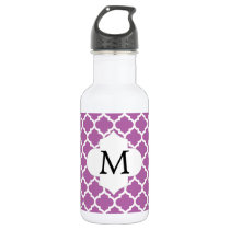 Personalized Monogram Orchid Quatrefoil Pattern Stainless Steel Water Bottle