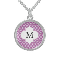 Personalized Monogram Orchid Quatrefoil Pattern Sterling Silver Necklace