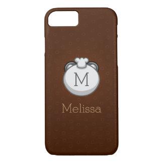 Personalized Monogram Panda   Elegant Brown iPhone 8/7 Case
