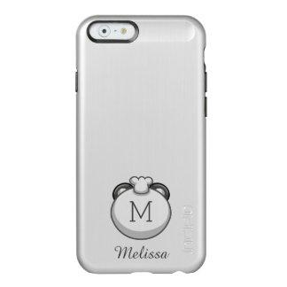 Personalized Monogram Panda   Elegant Silver Incipio Feather Shine iPhone 6 Case