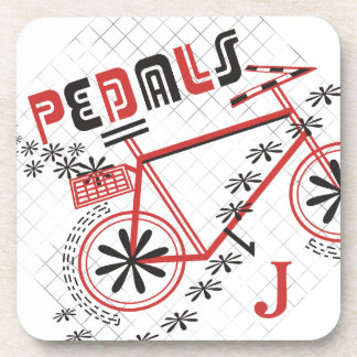 Personalized Monogram PEDALS Cycling Drink Coaster