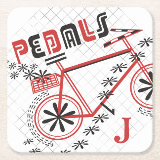 Personalized Monogram PEDALS Cycling Square Paper Coaster