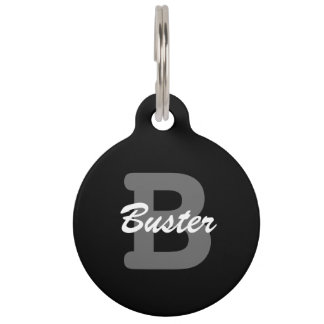 Personalized monogram pet tag for dog or cat