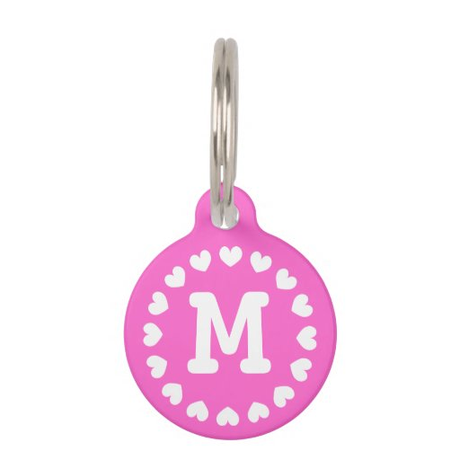 Personalized monogram pet tag with hearts for dogs