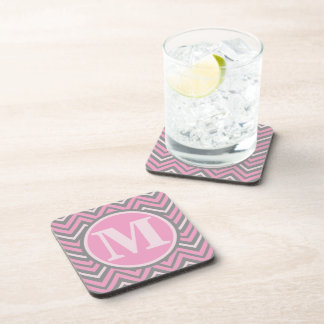 Personalized Monogram Pink and Grey Chevrons Drink Coaster