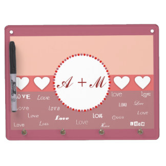 Personalized Monogram Pink and Red Wall Key Holder Dry Erase Board With Keychain Holder