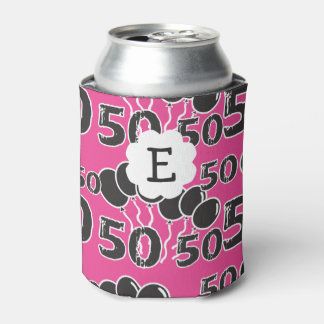 Personalized Monogram PINK BLACK 50th Birthday Can Cooler