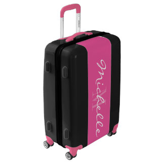 Personalized monogram pink black luggage suitcase