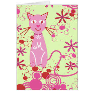 Personalized Monogram Pink Cat Blank Note Card