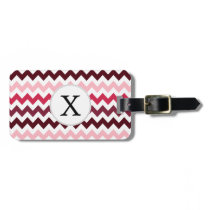 Personalized Monogram Pink Chevron ZigZag Pattern Bag Tag