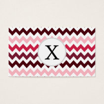 Personalized Monogram Pink Chevron ZigZag Pattern Business Card