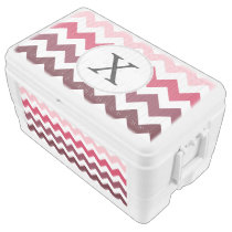 Personalized Monogram Pink Chevron ZigZag Pattern Chest Cooler