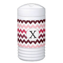 Personalized Monogram Pink Chevron ZigZag Pattern Cooler