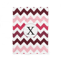 Personalized Monogram Pink Chevron ZigZag Pattern Fleece Blanket