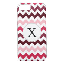 Personalized Monogram Pink Chevron ZigZag Pattern iPhone 7 Case