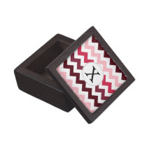 Personalized Monogram Pink Chevron ZigZag Pattern Jewelry Box