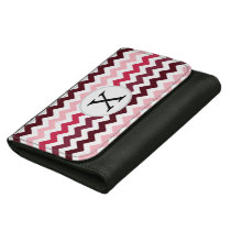 Personalized Monogram Pink Chevron ZigZag Pattern Leather Wallets
