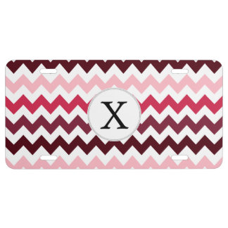 Personalized Monogram Pink Chevron ZigZag Pattern License Plate