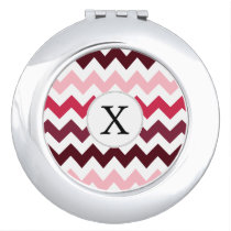 Personalized Monogram Pink Chevron ZigZag Pattern Mirror For Makeup
