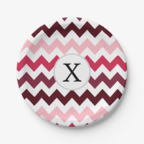 Personalized Monogram Pink Chevron ZigZag Pattern Paper Plate