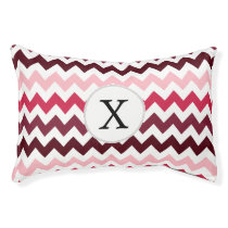 Personalized Monogram Pink Chevron ZigZag Pattern Pet Bed