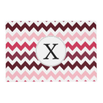Personalized Monogram Pink Chevron ZigZag Pattern Placemat