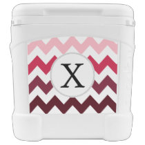 Personalized Monogram Pink Chevron ZigZag Pattern Rolling Cooler