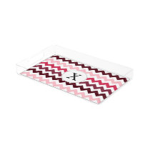 Personalized Monogram Pink Chevron ZigZag Pattern Serving Tray