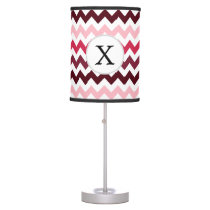 Personalized Monogram Pink Chevron ZigZag Pattern Table Lamp