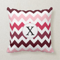 Personalized Monogram Pink Chevron ZigZag Pattern Throw Pillow