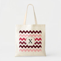 Personalized Monogram Pink Chevron ZigZag Pattern Tote Bag