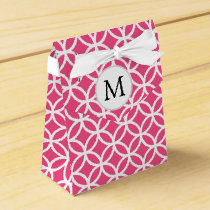 Personalized Monogram pink double rings pattern Favor Box