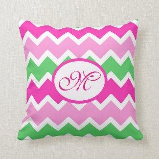 Personalized Monogram Pink Green Chevron Pillow
