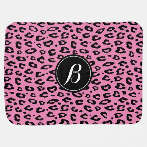 Personalized monogram pink leopard baby blanket zazzle for Personalized last name university shirts