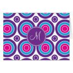 Personalized Monogram Pink Purple Circle Pattern Card