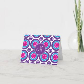 Personalized Monogram Pink Purple Circle Pattern Note Card