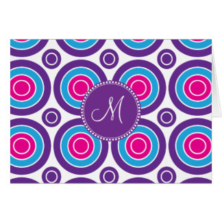 Personalized Monogram Pink Purple Circle Pattern Stationery Note Card