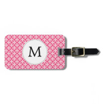 Personalized Monogram Pink rings pattern Bag Tag
